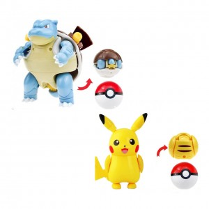 Bola Pokemon ROLL PIKACHU/BLASTOISE (11-8,5cm) 2 itens/lote - Importada