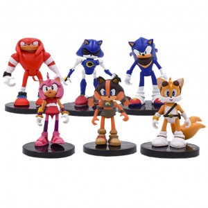 Action Figure Turma Sonic (9 cm)  6 itens/lote (modelo 1) - Importada