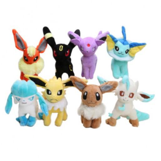 Pelúcia Turma Pokémon - EVOLUÇÃO EEVEE MINI (14-17cm) - 8 itens/lote (8 modelos)