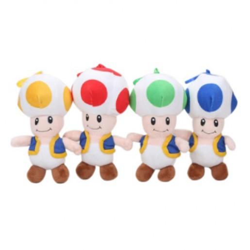 Pelúcia Turma Mario Bros TOAD MINI (18 cm) - 2 itens/lote (4 cores) - Importada